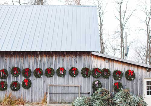 Fresh handmade custom wreaths from Dull's Tree Farm in Thorntown, IN near Frankfort and Lebanon.